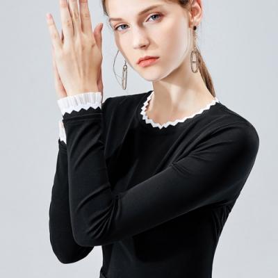 專注內搭-圓領長袖內搭法式優雅黑白撞色小香風上衣(S-3XL可選)