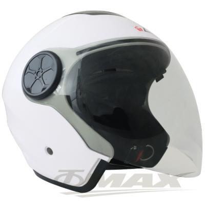 LAUS雙鏡片半罩大頭機車安全帽CA313-白色 (贈6入免洗內襯套)-快