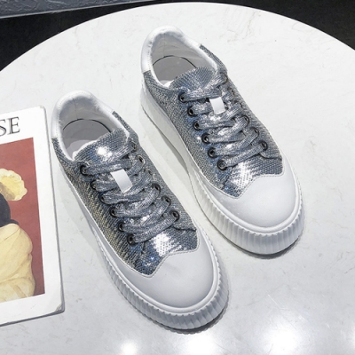 韓國KW美鞋館 美式作風完美亮片活力鬆糕鞋-銀
