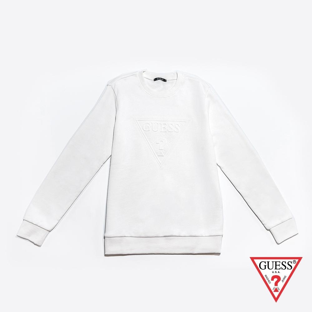 GUESS-女裝-經典LOGO壓印長袖T恤-米白 原價2990
