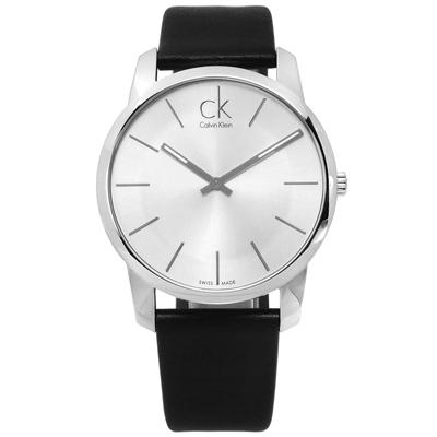 CK City 城市都會時尚皮革手錶-銀x黑/43mm