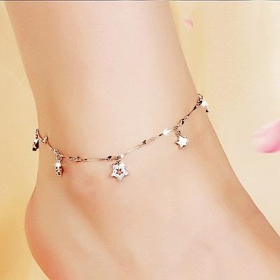 米蘭精品 925純銀腳鍊-閃耀鏤空五角星