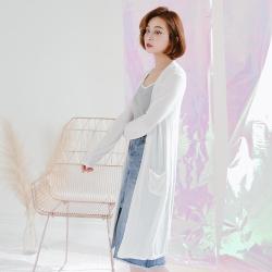 SUPER COLOR 韓版垂墜質感長版薄外套/罩杉-白色