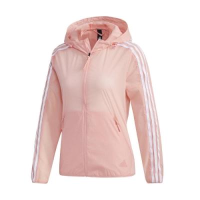 adidas 外套 Windbreaker Jacket 女款 愛迪達 三線 連帽 防風 穿搭 口袋 粉 白 FT2883