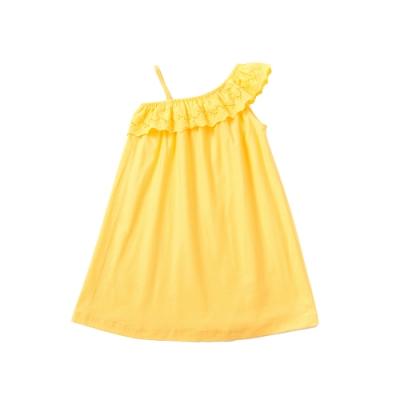 小雛菊 MARGUERITE 黃色斜肩洋裝 (90cm~120cm)