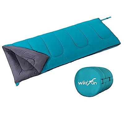 WildFun 野放可拼接方型親子睡袋 湖藍-1000g填充
