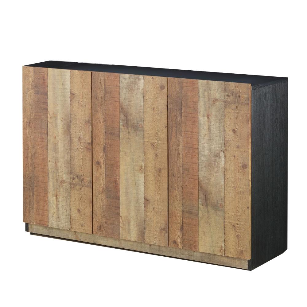 文創集 威爾工業風4尺木紋三門餐櫃/收納櫃-120x40x85cm免組