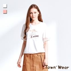 【TOWNWEAR棠葳】透膚拼接泡泡袖短版棉質上衣 2色