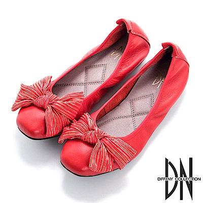 DN 舒適樂活 真皮造型蝴蝶結娃娃鞋-紅