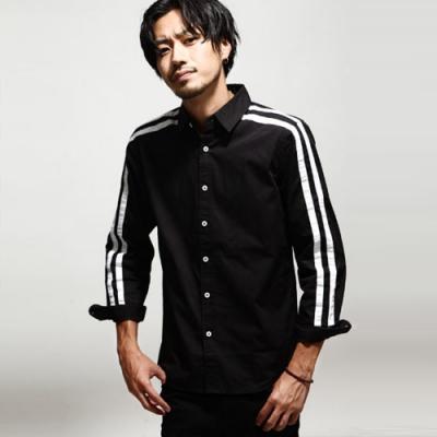 運動線條黑白長袖襯衫(2色) ZIP日本男裝