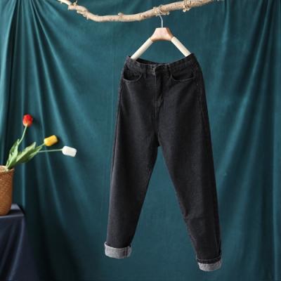 高腰顯瘦牛仔褲寬鬆小腳哈倫長褲-設計所在