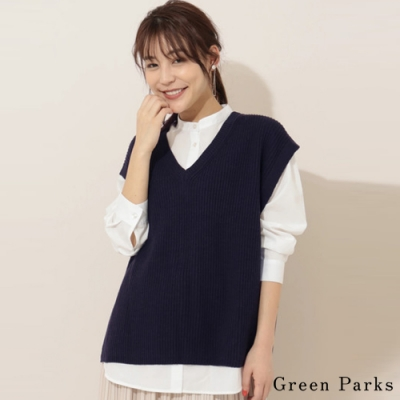 Green Parks 【SET ITEM】簡約圓領襯衫+V領側開叉落肩針織背心