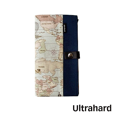 Ultrahard World Map 世界地圖系列-雙拉鍊收納袋(深海藍)