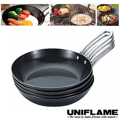 日本 UNIFLAME 日本製 4入黑皮平底鍋組(<b>1</b>.6mm厚)