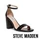 STEVE MADDEN-GIGI 繞踝皮紋一字帶粗高跟涼鞋-黑色 product thumbnail 1