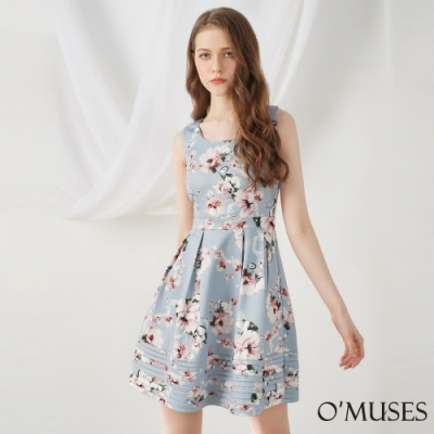 OMUSES 美背印花A-Line壓褶洋裝