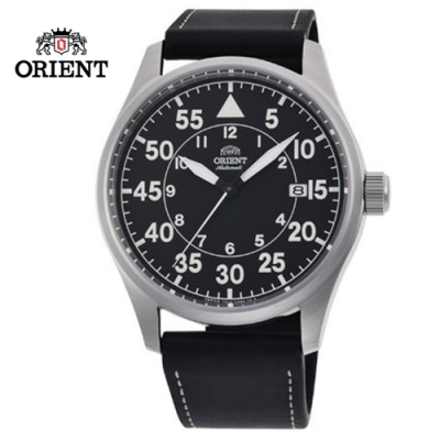 ORIENT 東方錶 WATER RESISTANT 100m系列 飛行機械錶 皮帶款 黑色 RA-AC0H03B - 42.4mm