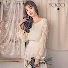 東京著衣-yoco 經典浪漫雪紡圓領珍珠花兒綁帶上衣-S.M.L(共二色)
