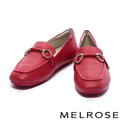 平底鞋 MELROSE 復古風潮金屬馬銜釦牛皮樂福平底鞋-紅