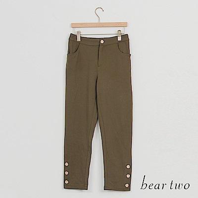 beartwo 軍裝風金色釘釦造型褲(二色)