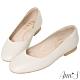 Ann'S奶奶鞋-V型小羊皮真皮方頭平底鞋-米白 product thumbnail 1