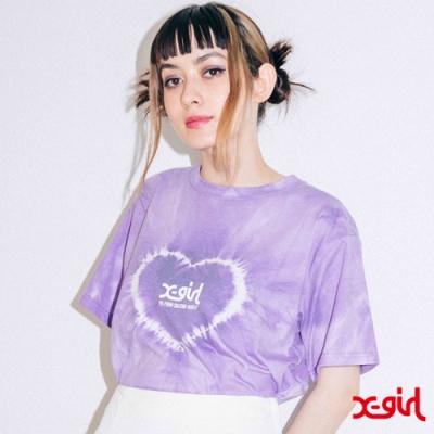 X-girl HEART TIE-DYE S/S TEE愛心渲染短T-紫