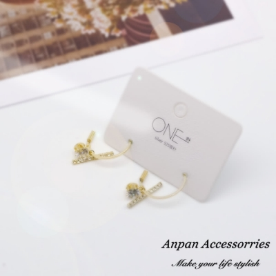 【ANPAN愛扮】韓東大門設計師款半圓天平水鑽耳釘式耳環