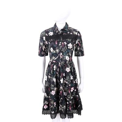 Kate Spade 經典花草印花黑色襯衫式洋裝