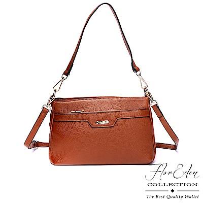 DF Flor Eden - 經典真皮簡約氣質可拆式提背帶小方肩背包-共2色