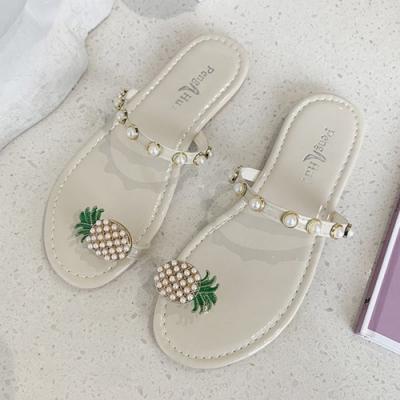 KEITH-WILL時尚鞋館 好感吸晴鳳梨珍珠拖鞋-米
