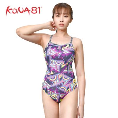 酷吶81 Dolfin女性意象幾和元素連身泳裝 迷幻紫