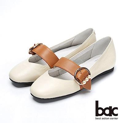 bac都會新秀-小方頭配色腳背帶珍珠裝飾內增高平底鞋