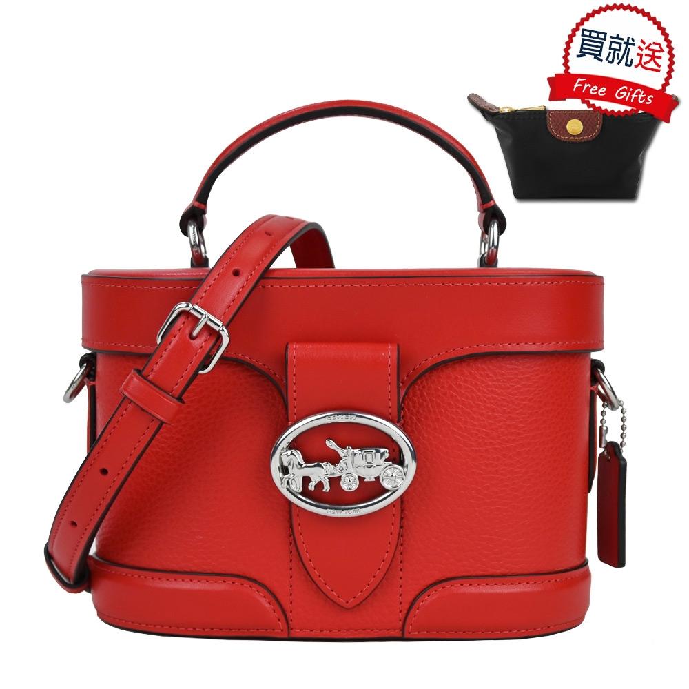 COACH 馬車logo皮革手提/斜背兩用圓桶包(紅)+LONGCHAMP零錢包(黑)