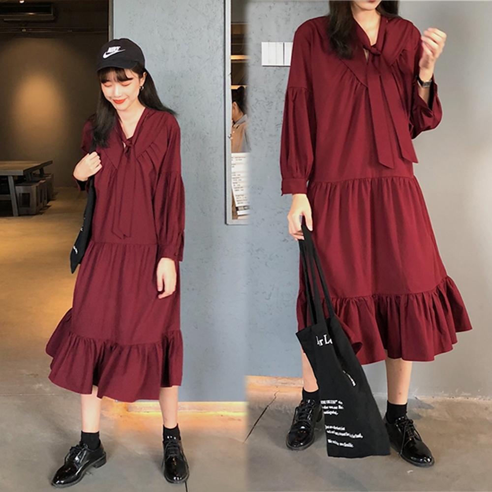 【韓國K.W.】日系清甜V領多層修身洋裝-2色