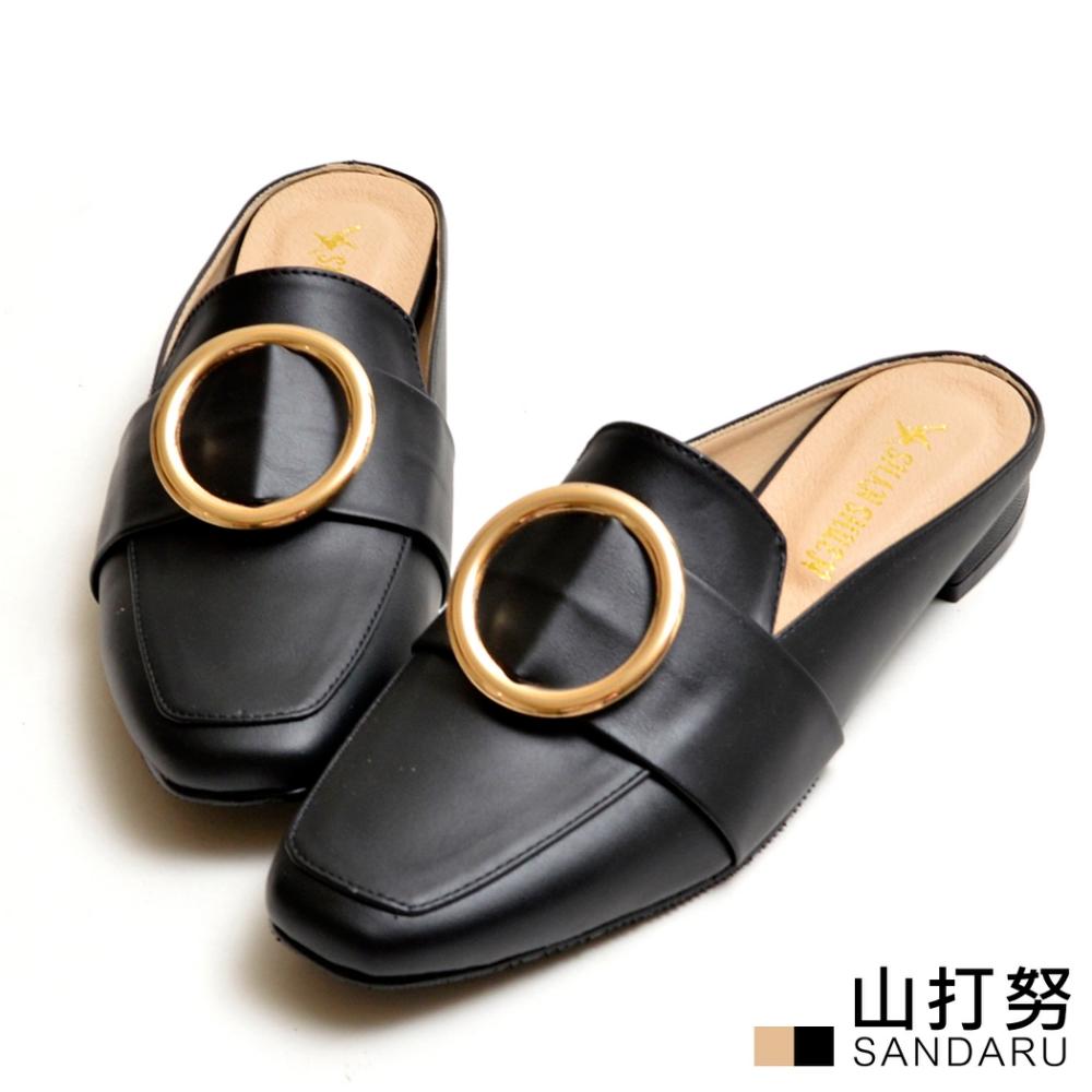山打努SANDARU-穆勒鞋 圓釦方頭皮革紳士拖鞋