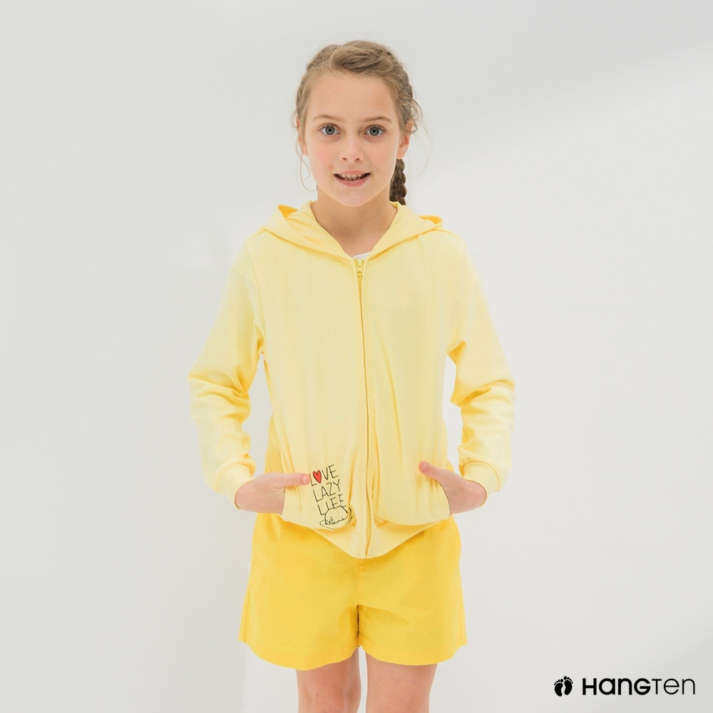 Hang Ten-女童-Sanrio斜插袋連帽外套-黃色