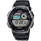 CASIO 卡西歐 10年電力世界時間手錶-黑(AE-1000W-1B)