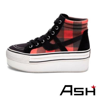 ASH-JIMMY CHECK復古高筒刷舊帆布鞋-紅