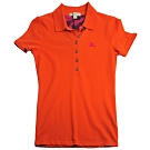 BURBERRY 戰馬刺繡LOGO釦式短袖女POLO衫(橘/XS號)