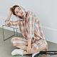 H:CONNECT 韓國品牌 女裝 -亮色系格紋長版連帽襯衫-橘 product thumbnail 1