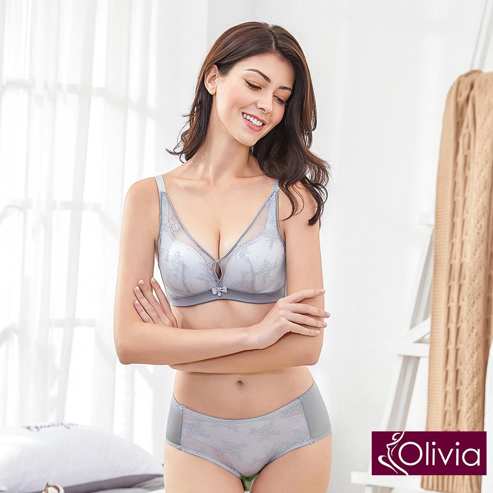 Olivia 無鋼圈美姬蕾絲薄紗內衣+小褲-灰色