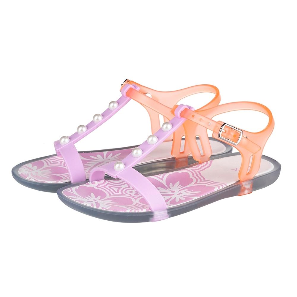 IGOR 花漾珍珠果凍涼鞋-童-粉紅/橘