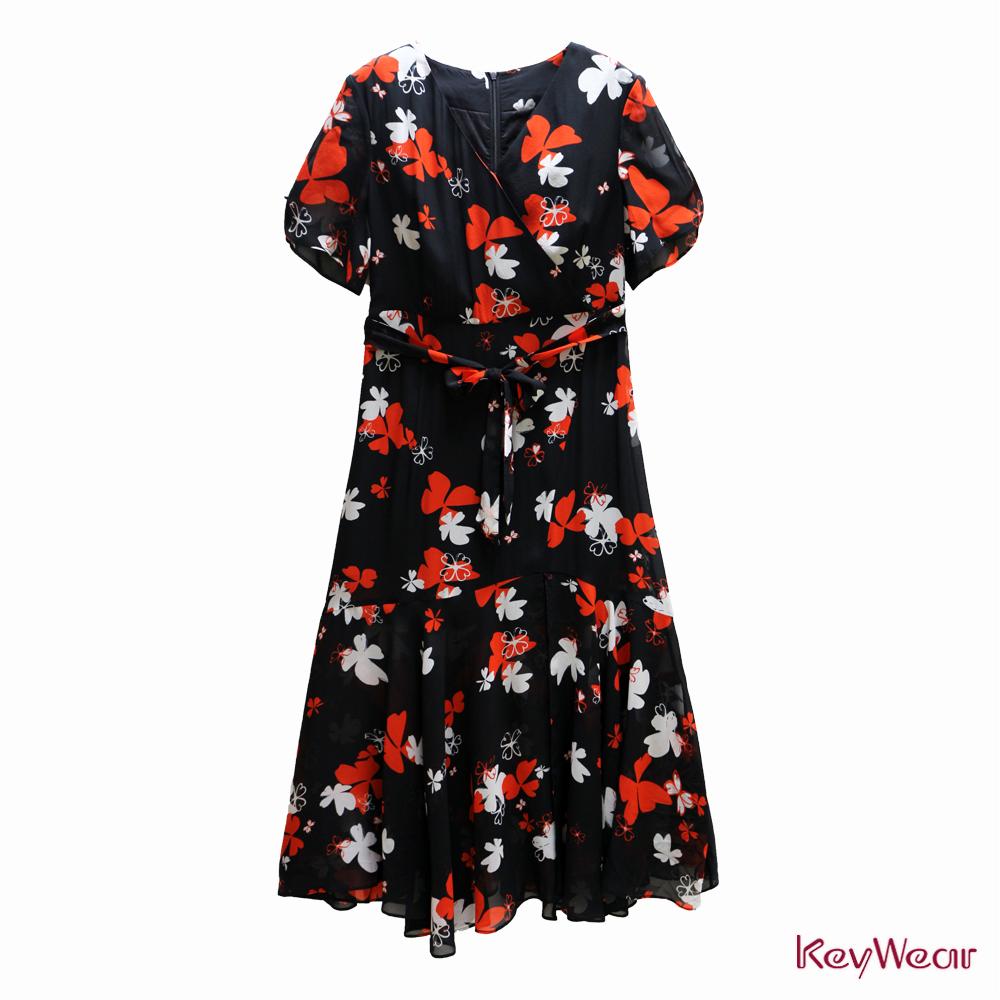 KeyWear奇威名品    絲100%開叉優雅印花短袖洋裝-黑色