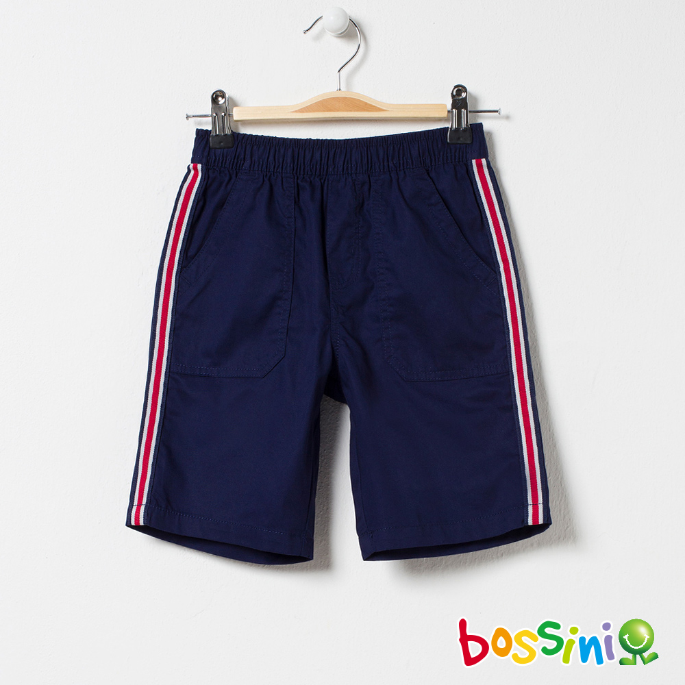 bossini男童-素色輕便短褲藏藍色