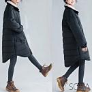 SQUA 立領鋪棉黑色長版外套-(L/XL)
