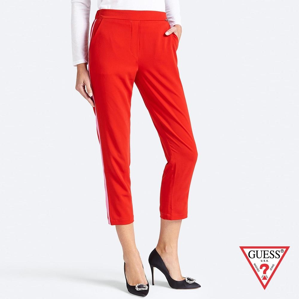 GUESS-女裝-撞色拼接休閒長褲-紅 原價2290