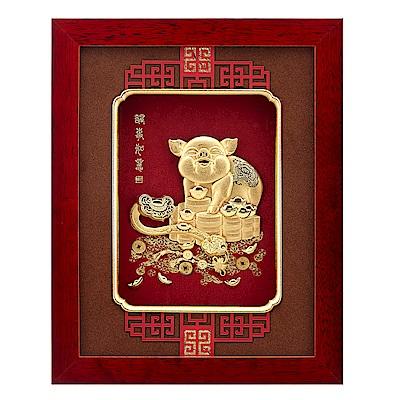 純金豬 金箔畫系列~【諸事如意】....26 x33 cm