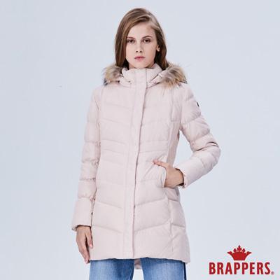 BRAPPERS 女款 長版可拆帽羽絨外套-淺粉