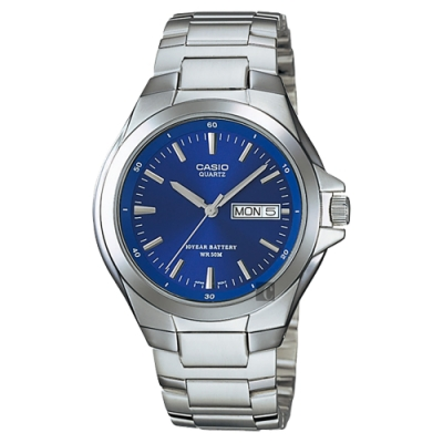 CASIO 卡西歐 10年電力指針手錶-藍x銀(MTP-1228D-2AVDF)