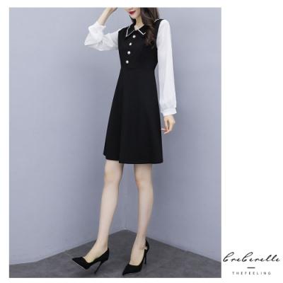 2F韓衣-韓系小V領假兩件式洋裝-黑色(XL)